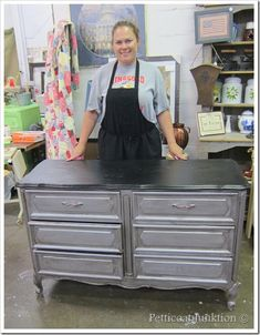 dresser painted with Martha Stewart Metallic paint and Caromal Colours Licorice