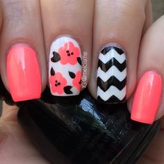 "Chevron floral nails using China Glaze ""Flip Flop Fantasy"" #neon #chevron #nailart"