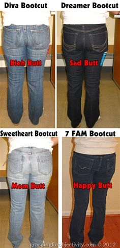 """How to avoid unattractive jeans and """"mom"""" jeans. This post is hilarious and informative and shows the same woman wearing tons of different pairs on the same day. I will admit that I felt a little strange looking at all the butts ... but I'm glad I learned something."""