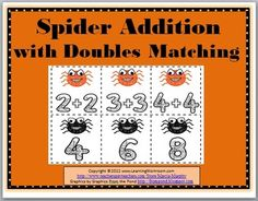 FREE Spider Addition with Doubles doubl, math game, classroom stuff, spiders, halloween fun, spider addit, grade, free spider, fallhalloween idea