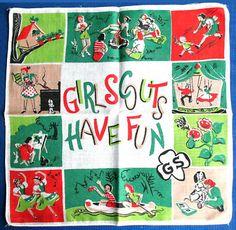 Vintage Girl Scouts Have Fun handkerchief.