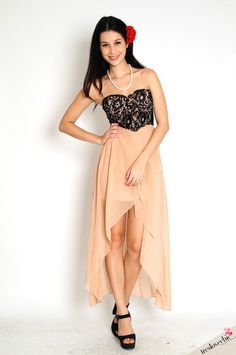 Alana Lace Bustier Chiffon Maxi Dress   @Cindy Wira is the green dress nicer?