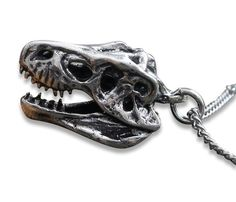 Kinda weird but I think I would actually wear this! My boys would think it's cool!  3D T-Rex Skull Necklace