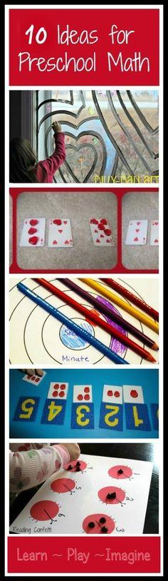 10 hands on math activities for preschool classroom, idea, hands, preschool math, homeschool, activ, preschools, preschoolmath, kid