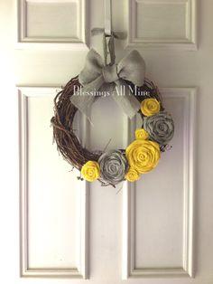 14 inch Grapevine Wreath Burlap Yellow & Gray by BlessingsAllMine, $32.00