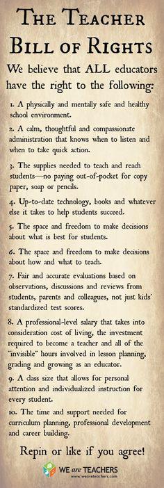 The Teacher Bill of Rights #weareteachers