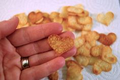 Simple heart-shaped, crackers. You won't BELIEVE how these are made and they couldn't be any EASIER!   via http://mommycoddle.com