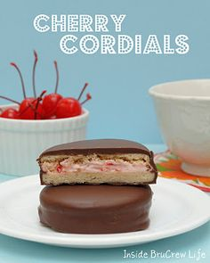 Homemade Little Debbie Cherry Cordials - sugar cookies filled with cherry cream and dipped in chocolate http://www.insidebrucrewlife.com
