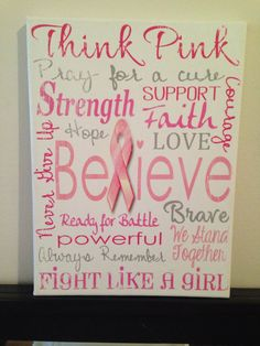 Think Pink. Pray for a Cure. Breast Cancer. 'Rustic' Looking Canvas by CreationsbyCLM, $30.00
