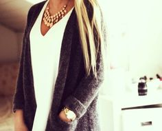 Fall Fashion fall fashions, statement necklaces, sweater weather, white shirts, fall looks, fall outfits, grey, fall styles, fall weather
