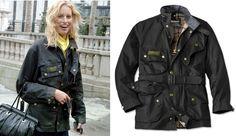 Model Karolina Kurkova wears the Barbour International jacket.