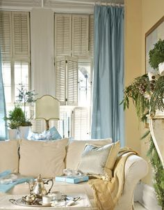 tan and  blue living room decor | Blue and White Holiday Decorating - Christmas House Tour - Country ...