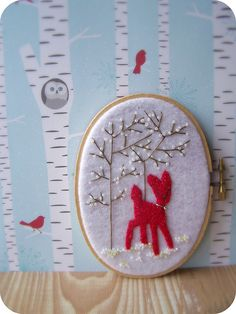 red felt deer embroidery