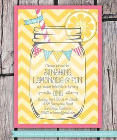 Sunshine Lemonade & Fun - First Birthday Invitation - ANY Colors and Text - Chevron Mason Jar Bunting - Printable - Bridal Baby Shower on Etsy, $17.00