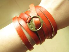 Orange Leather Fashion Bracelet With Metal Buckle by sevenvsxiao, $11.50