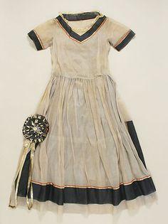 Cotton, metal, and silk dress (Robe de Style) circa 1922, by Lanvin, France.