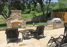 outdoor kitchen outdoor kitchen outdoor.  Fireplace into an kitchen area...all one piece