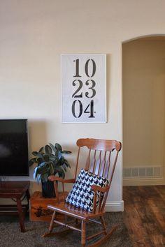 DIY vinyl wall art with wedding anniversary date!
