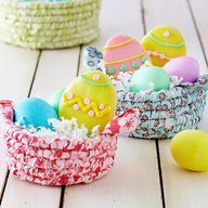 DIY Coiled Fabric Easter Baskets