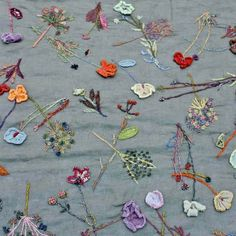 Hand embroidered linen scarf by SOPHIE DIGARD
