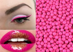 Candy-colored eyeliner looks great with matching lips!