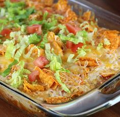 Dorito Chicken Casserole. A delicious Mexican dish which combines shredded cooked chicken, shredded Mexican cheese blend, one of can cream of chicken soup, milk, sour cream, tomatoes, taco seasoning, one bag Doritos, Shredded lettuce, diced tomato. Enjoy!