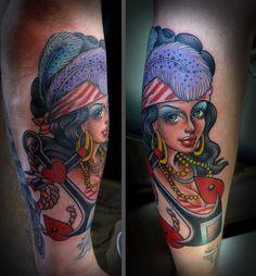 Tim Hendricks - Gold Rush Pin Up Tattoo