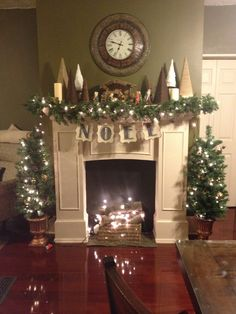 My mostly homemade Christmas fireplace.