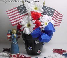 Flag Patriotic Centerpiece flag patriot, flags, juli 4th, cozy homes, patriot holiday, flowers, centerpieces, holiday decor, patriot centerpiec