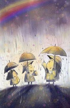 rainbow rain artists, kid inrain, umbrella, rainbows, life rain, beauti rainbow, kids, blog, rain rain