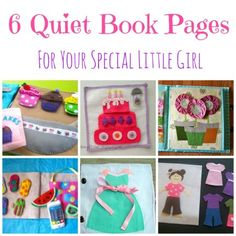6 quiet book pages for little girls