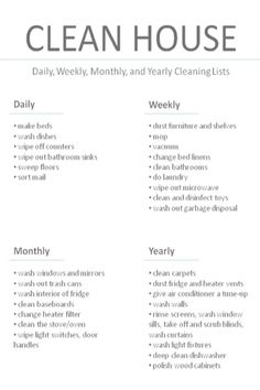 House cleaning daily, weekly, monthly and yearly.
