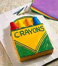 Crayon box cake- use ice cream cones dipped in colored candy melts for the crayon tips.