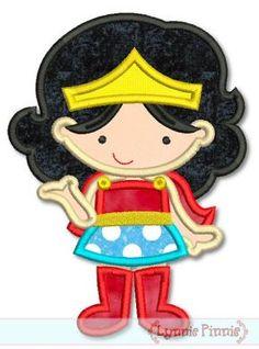 Superhero Girl 1 Applique 4x4 5x7 6x10 SVG