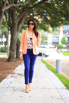 blue cropped pants with a light coral jacket
