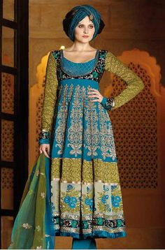 Green And Teal Blue Faux Georgette Full Sleeve Long Designer Salwar Kameez 15854