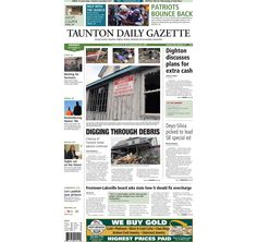 The front page of the Taunton Daily Gazette for Monday, Sept. 15, 2014.
