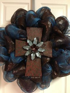 Deco Mesh Cross Rustic Wreath by JustADreamXOX on Etsy, $65.00