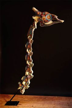 Beaded Giraffe Skeleton. Beading completed by the Huichol Indians.