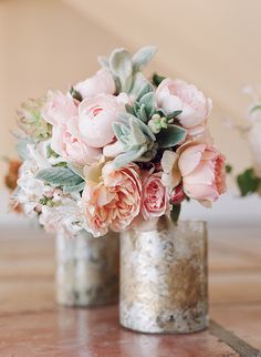 mercury vases with floral arrangements for wedding table decor