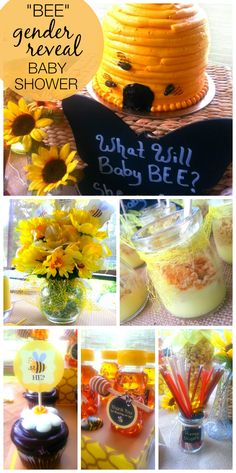 """Loving this bumble""""bee"""" gender reveal baby shower with honey bears, a beehive cake and more!  See more party ideas at CatchMyParty.com!"""
