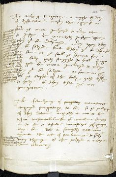 Bishop of Worcester's writing on purgatory, with notes by Henry VIII - In the 1530s, debate raged about the efficacy of prayers for the dead and the very existence of purgatory.     Around 1537 the reformist Bishop of Worcester, Hugh Latimer (c.1485–1555), prepared for the King a paper in opposition to what he ironically described elsewhere as 'our old ancient purgatory pick-purse' and Henry's sharp disagreement is apparent in his marginal notes.