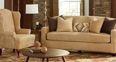 Stretch Leather Slipcovers: Have it all—the luxury and look of leather in an affordable, washable slipcover. Our full grain pattern will impress even the most discriminating eye.