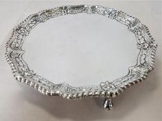 """Sterling Silver Victorian Waiter / Salver / Small Round Tray. 8"""" Diameter. For Sale at www.EstateSilver.com"""
