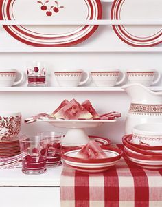 gingham, plate racks, color, country living magazine, white decor, cottage decorating, cherries jubilee, white dishes, white kitchens