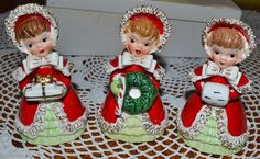 "RARE SET VINTAGE LEFTON CHRISTMAS BELLS, MINTY IN ORIGINAL BOX, ""PRETTY IN RED"""