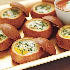 Baked eggs in bread bowls. Yum!