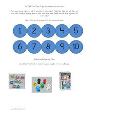 Here's a set of materials with a variety of activities for practicing basic number concepts and the ideas of more and less.