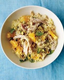 Utilize the supermarket staple of rotisserie chicken to create this simple dinner. Shred the chicken and combine with couscous, mint, and orange to create a refreshing meal.
