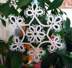 White  snowflakes  Star  tatting.. $5.00, via Etsy.
